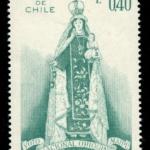 Sello Postal con la Imagen de la Virgen del Carmen que se venera en el Templo Votivo de Maipú, emitido por Correos de Chile el año 1970
