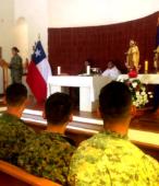 Los días previos al 5 de abril. las dos imágenes permanecieron en la Escuela de Suboficiales del Ejército, donde fueron veneradas por el personal y alumnos dragoneant